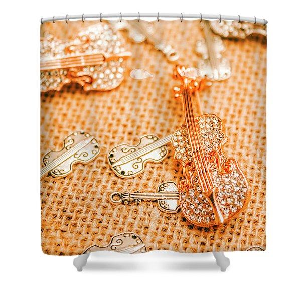 Silver Violin Pendant With Diamonds Shower Curtain
