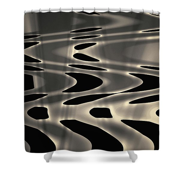 Silvery Abstraction Toned  Shower Curtain