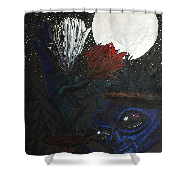 Similar Alien Appreciates Flowers By The Light Of The Full Moon. Shower Curtain