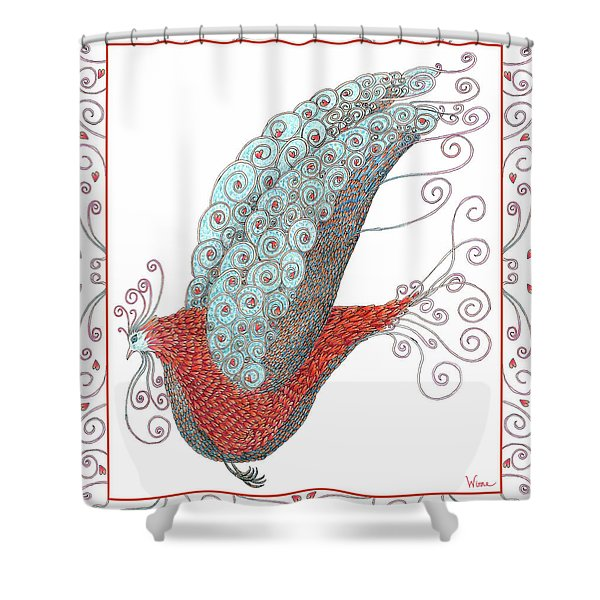 Simon Lovey The Exotic Bird With Border Shower Curtain