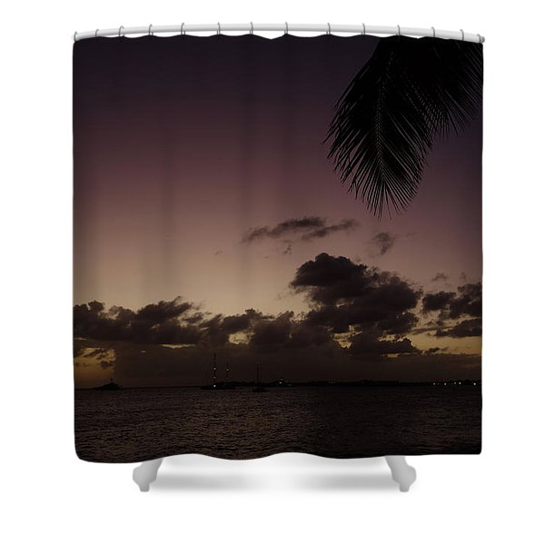 Simpson Bay Purple Sunset Saint Martin Caribbean Shower Curtain