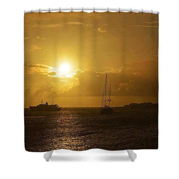 Simpson Bay Sunset Saint Martin Caribbean Shower Curtain