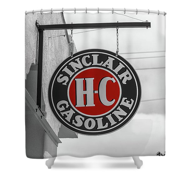 Sinclair Gasoline Round Sign In Selective Color Shower Curtain