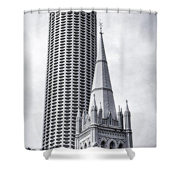 Singapore Architecture Shower Curtain