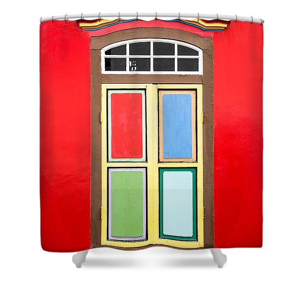 Singapore Red Window Shower Curtain