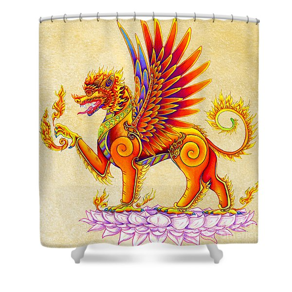 Singha Winged Lion Shower Curtain