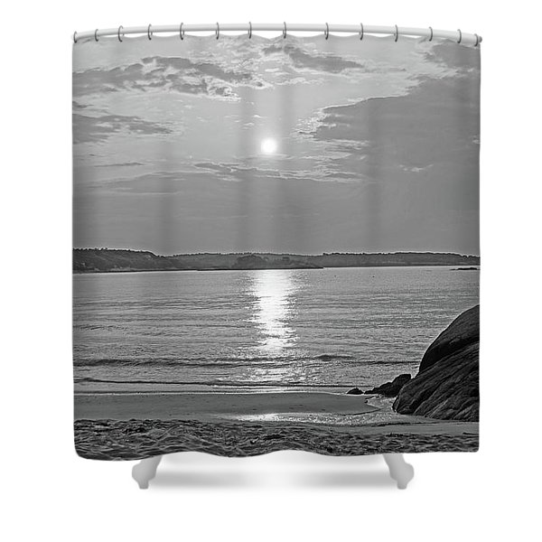 Singing Beach Rocky Sunrise Manchester By The Sea Ma Sand Black And White Shower Curtain