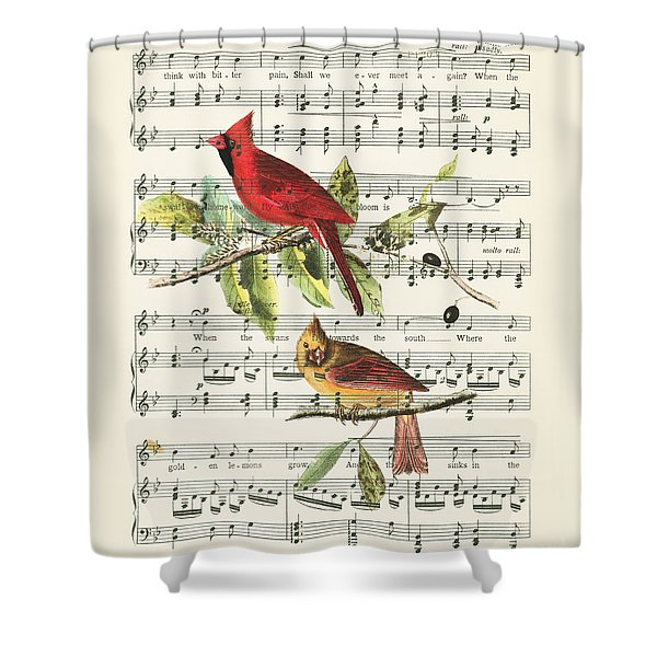 Singing Cardinals Shower Curtain