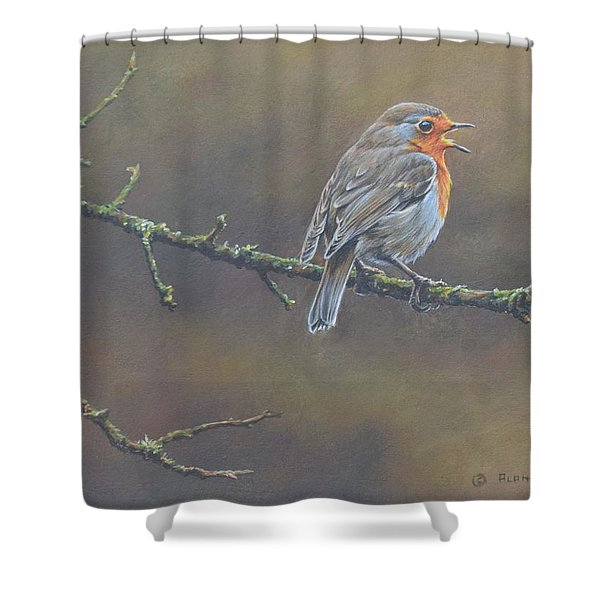 Shower Curtain featuring the painting Singing Robin by Alan M Hunt