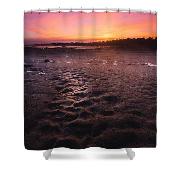 Singing Sands Sunset Shower Curtain