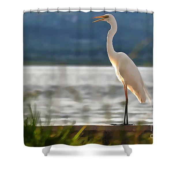 Singing White Egret Shower Curtain