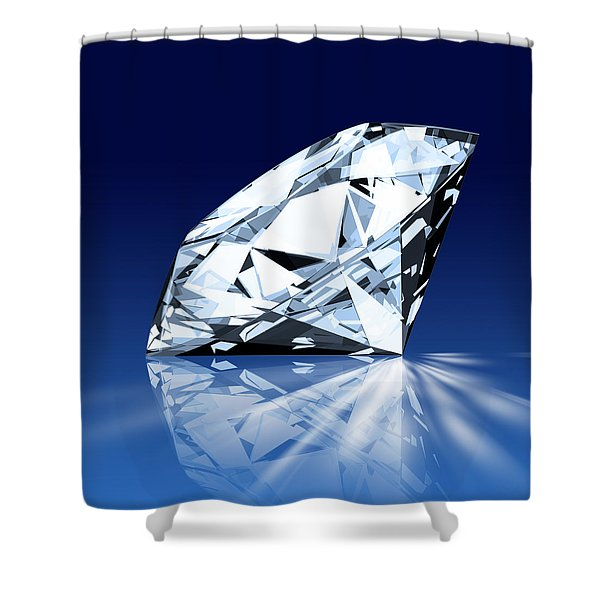 Single Blue Diamond Shower Curtain