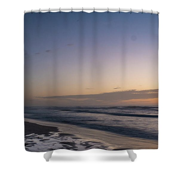 Single Man Walking On Beach With Sunset In The Background Shower Curtain