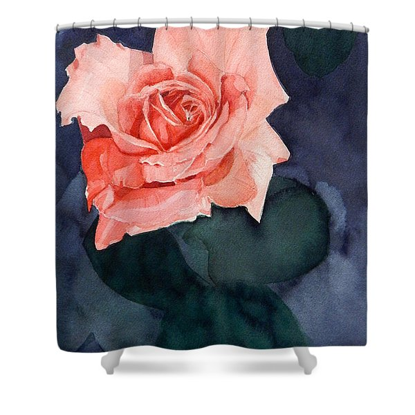 Watercolor Of A Magic Bright Single Red Rose Shower Curtain
