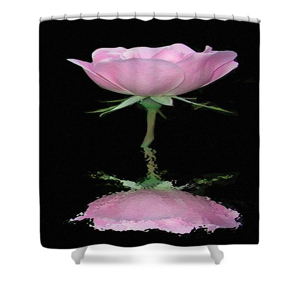 Single Reflected Pink Rose Shower Curtain