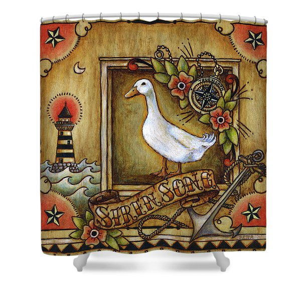 Siren Song Aka Ducking In For A Tattoo Shower Curtain