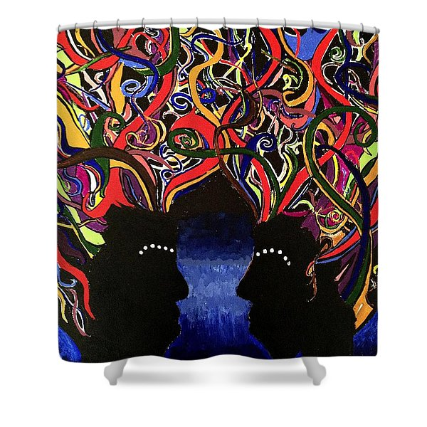 Sis The Twins - Abstract Silhouette Painting - Sisterhood - Abstract Painting  Shower Curtain