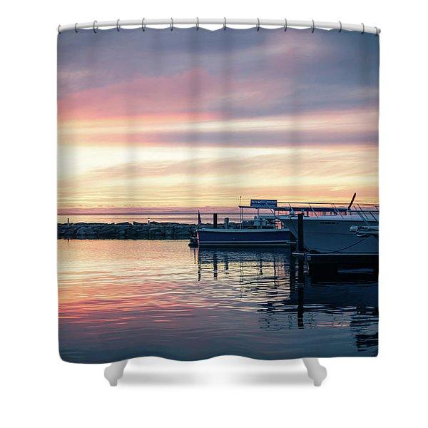 Sister Bay Marina At Sunset Shower Curtain