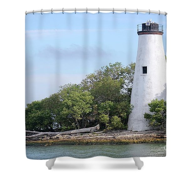 Sister Island Lighthouse Shower Curtain