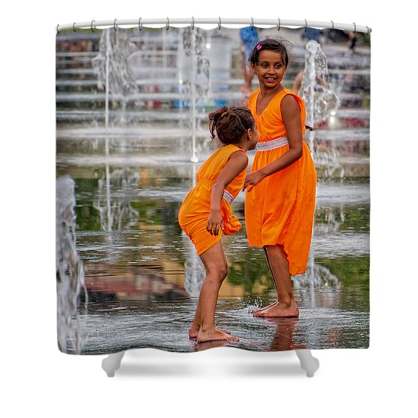 Sisters In The Waterpark Shower Curtain