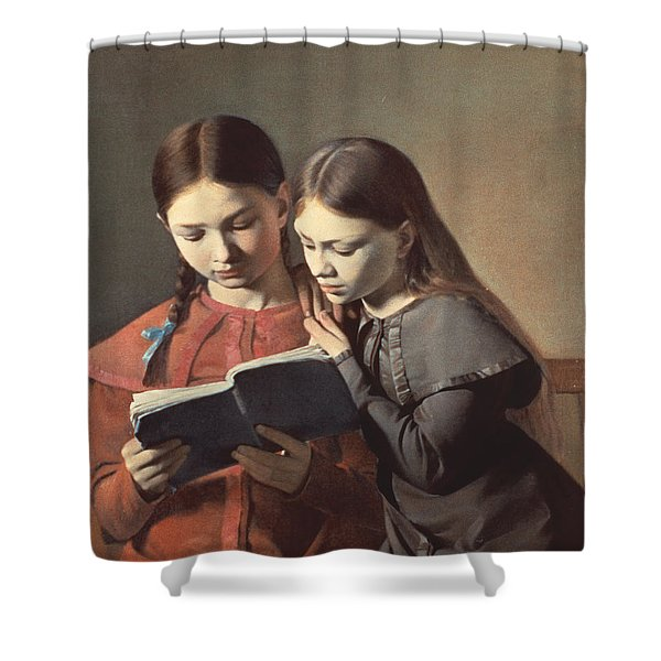 Sisters Reading A Book Shower Curtain