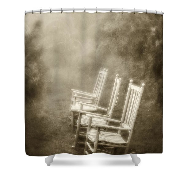Sit A Spell-sepia Shower Curtain