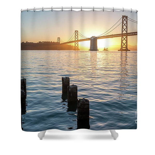 Six Pillars Sticking Out The Water With Bay Bridge In The Backgr Shower Curtain