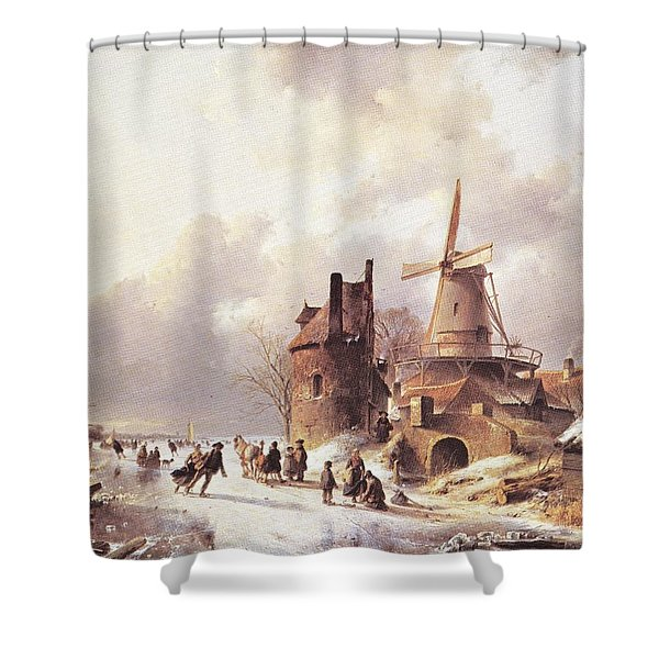 Skaters On A Frozen River Shower Curtain