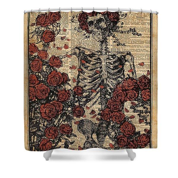 Skeleton Art, Skeleton With Roses Book Art,human Anatomy Shower Curtain