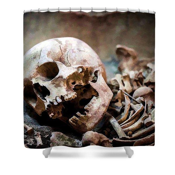Skeleton Dead Head Shower Curtain