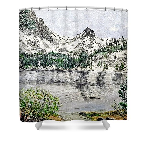 Shower Curtain featuring the painting Skelton Lake by Kevin Daly