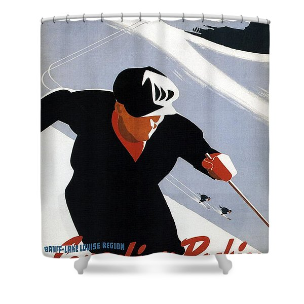 Skiing In The Canadian Rockies - Canadian Pacific - Retro Travel Poster - Vintage Poster Shower Curtain