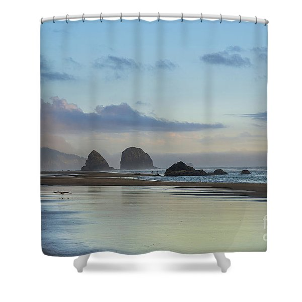 Skimming Along The Beach At Sunset Shower Curtain