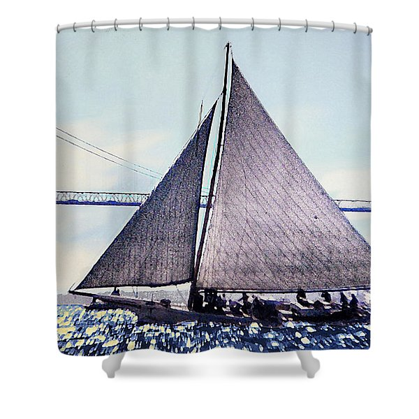 Shower Curtain featuring the painting Skipjacks Racing Chesapeake Bay Maryland Contemporary Digital Art Work by G Linsenmayer
