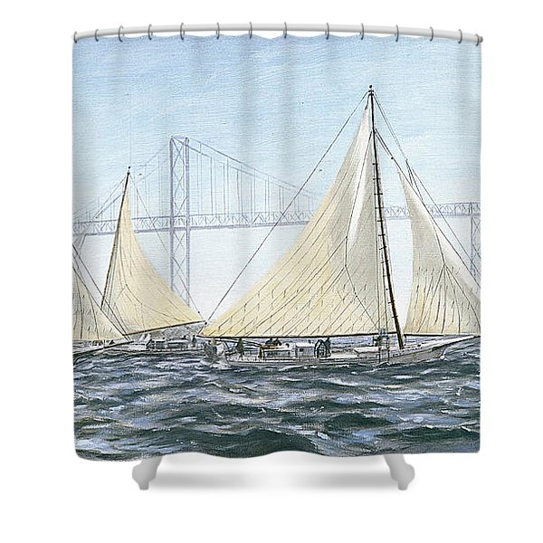 Shower Curtain featuring the painting Skipjacks Racing Chesapeake Bay Maryland Detail by G Linsenmayer