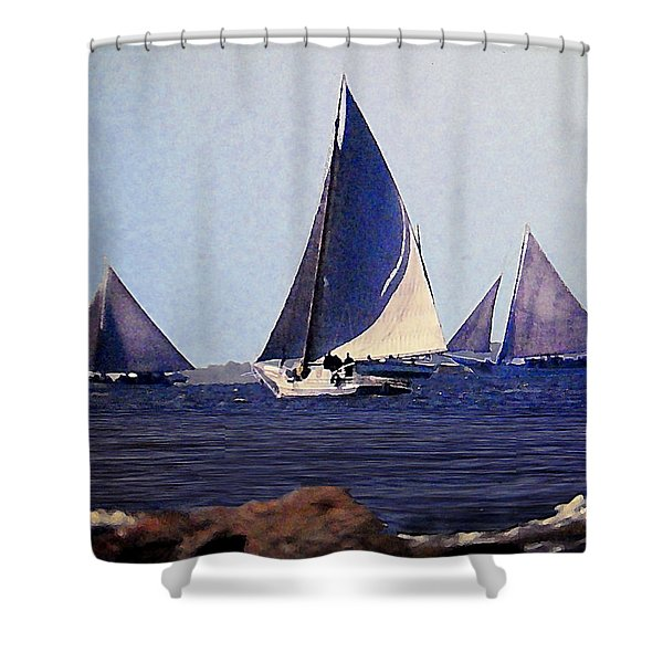Shower Curtain featuring the painting Skipjacks Racing IIi Chesapeake Bay Maryland Contemporary Digital Art Work by G Linsenmayer