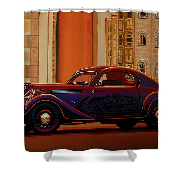 Skoda Popular Sport Monte Carlo 1935 Painting Shower Curtain
