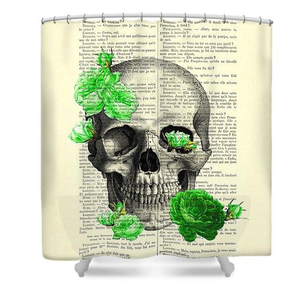 Skull And Green Roses Illustration Shower Curtain