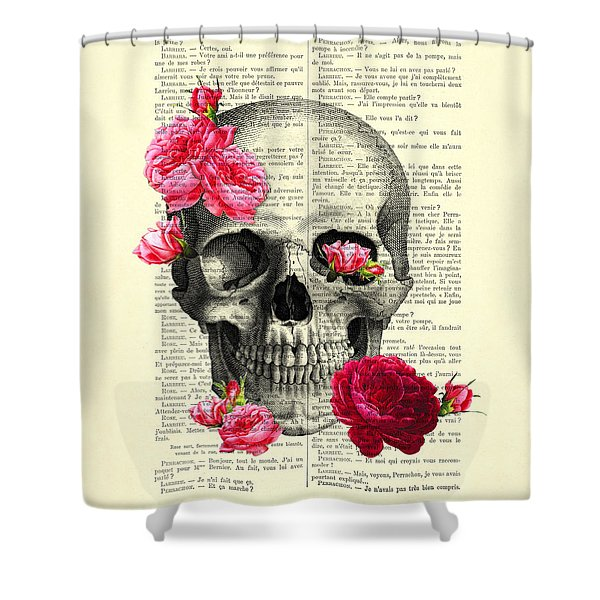 Skull And Pink Roses Shower Curtain