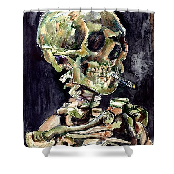 Skull Of A Skeleton With Burning Cigarette Shower Curtain