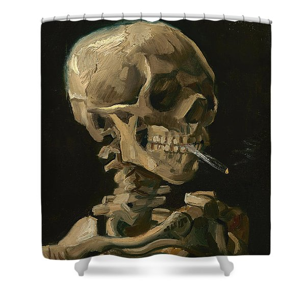 Skull Of A Skeleton With Burning Cigarette - Vincent Van Gogh Shower Curtain