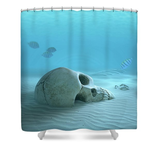 Skull On Sandy Ocean Bottom Shower Curtain