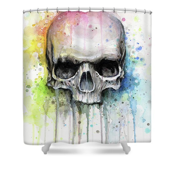 Skull Watercolor Rainbow Shower Curtain