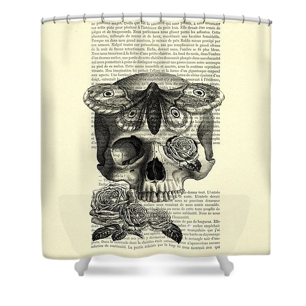 Skull With Hawkmoth Black And White Shower Curtain