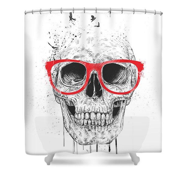 Skull With Red Glasses Shower Curtain
