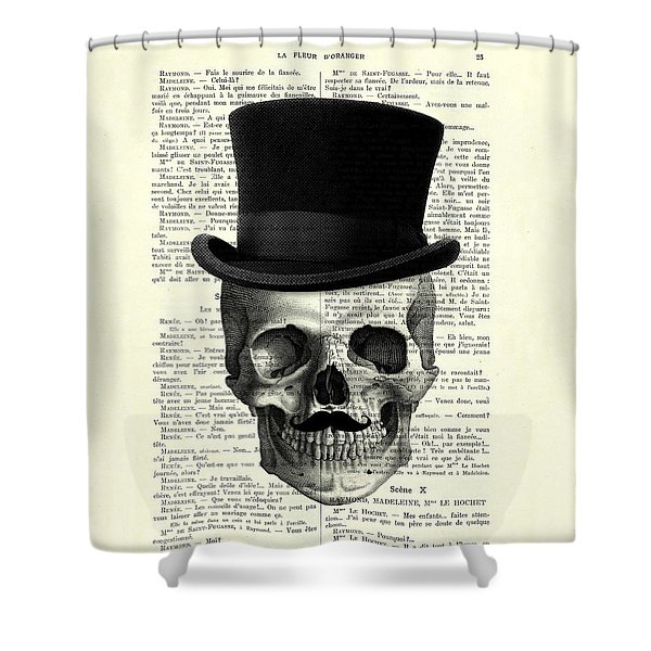 Skull With Top Hat And Moustache Shower Curtain