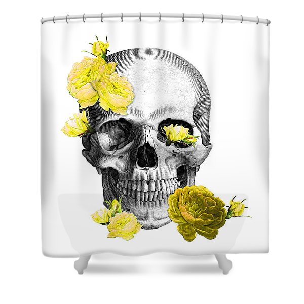 Skull Yellow Roses Shower Curtain