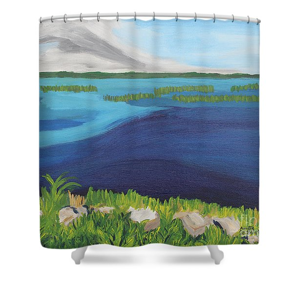 Serene Blue Lake Shower Curtain