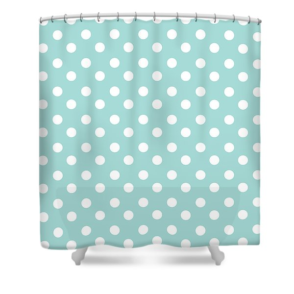 Sky Blue Polka Dots Shower Curtain