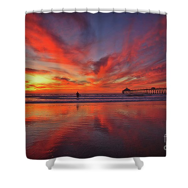 Sky On Fire At The Imperial Beach Pier Shower Curtain